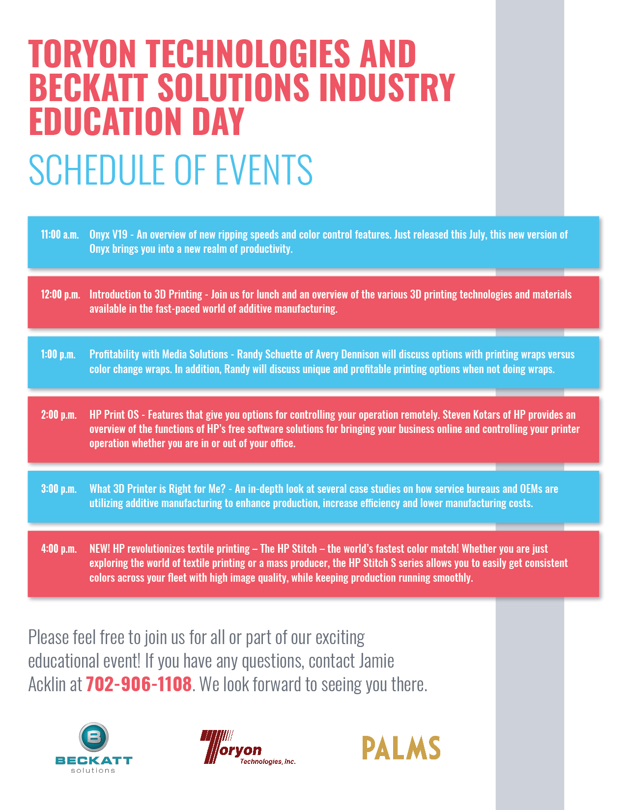 INDUSTRY EDUCATION DAY SCHEDULE